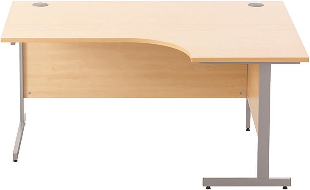 Image for Sonix Cantilever Radial Desk Silver Cantilever Leg 1600mm Acer Maple