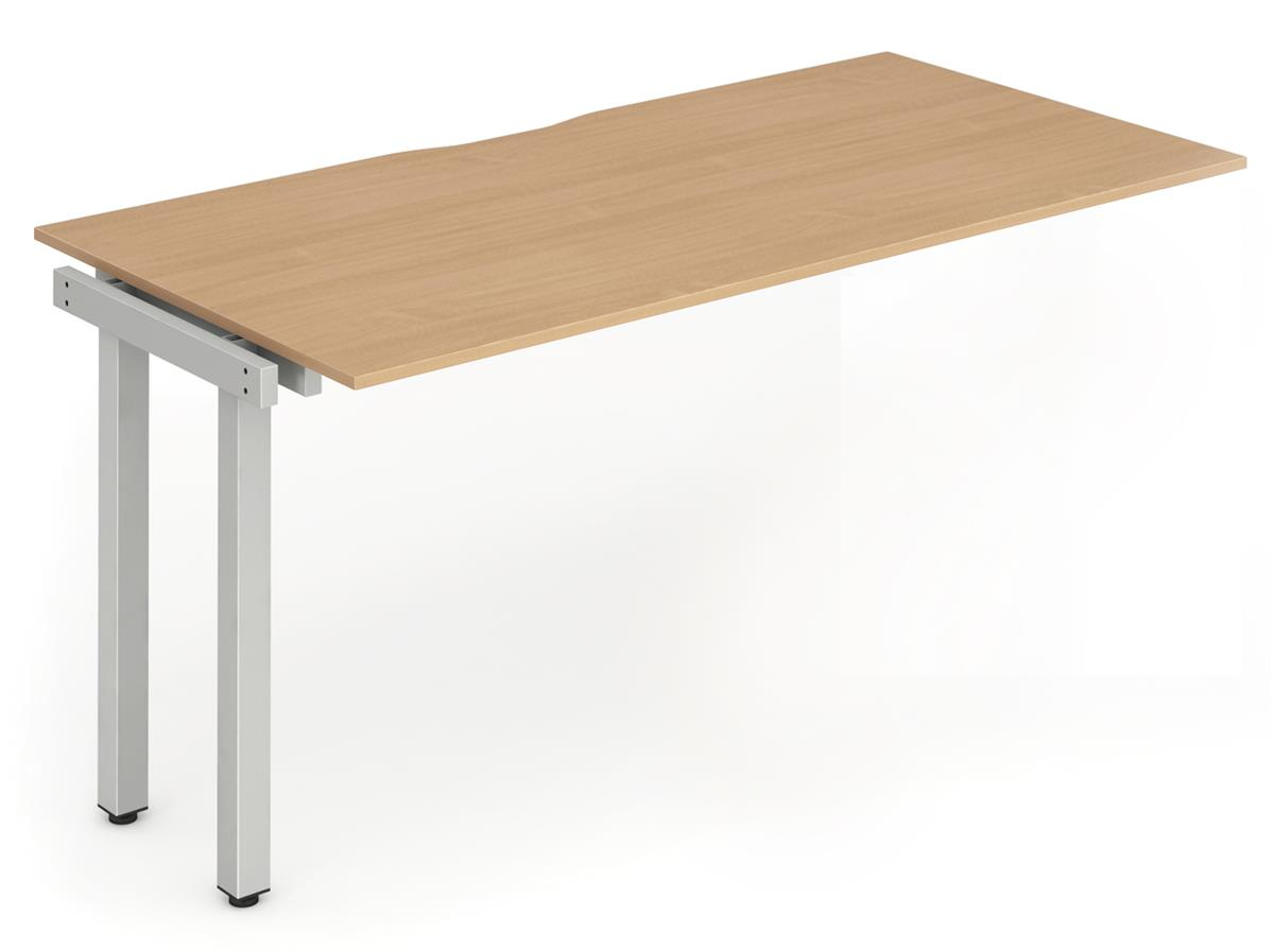 Image for Trexus Bench Desk Single Extension Lockable Sliding Top Silver Leg Frame 1400mm Beech