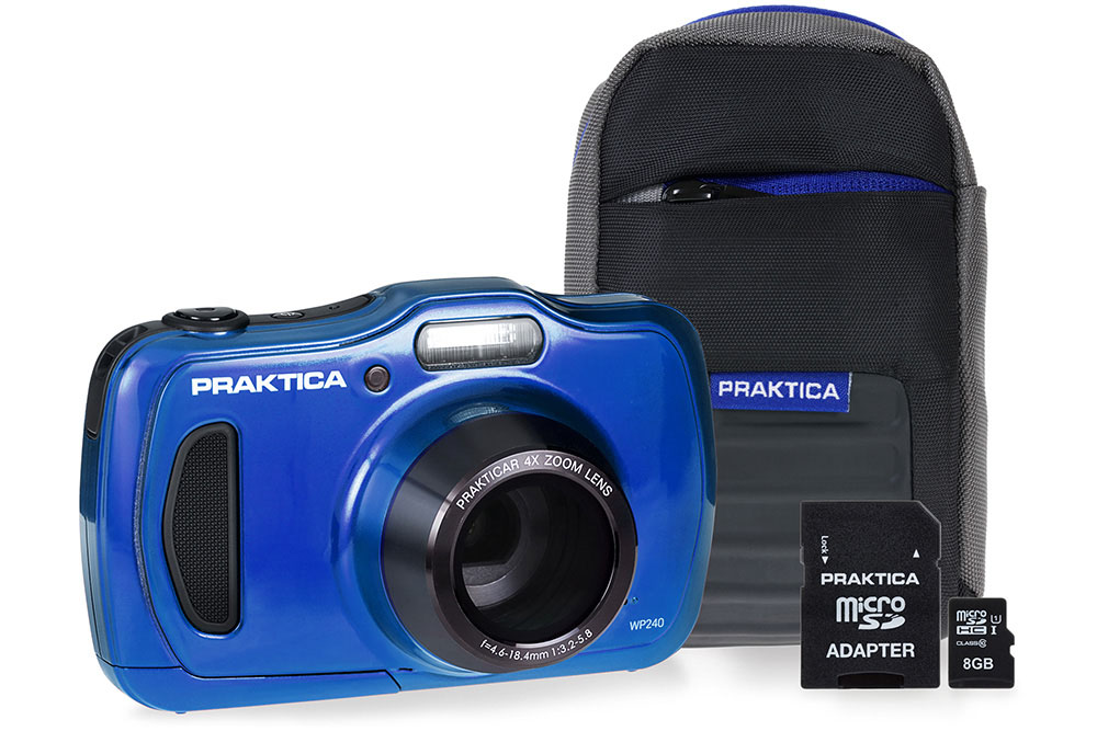 Image for Praktica WP240 Waterproof 20MP Camera Kit 2.7in LCD Screen 4x Optical Zoom Case 8GB SD Card Blue