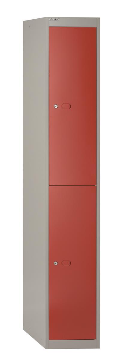 Image for Bisley Steel Locker 457 Two Door Grey/Red