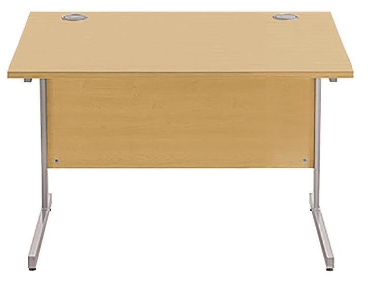 Image for Sonix Cantilever Desk Rectangular Silver Cantilever Leg 1000mm Natural Oak
