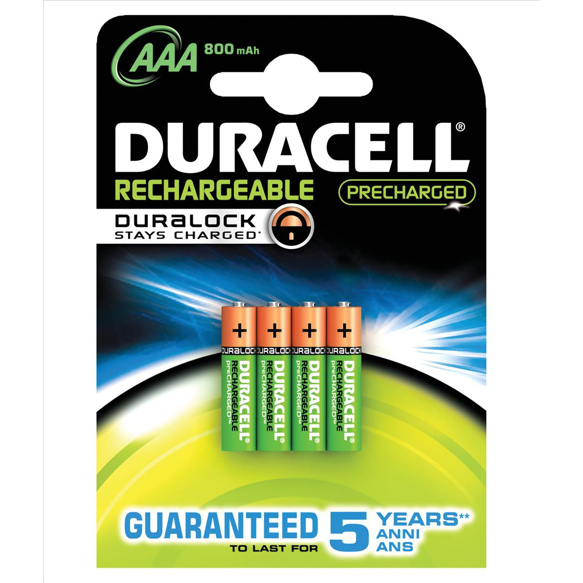 Duracell Stay Charged Battery Long-life Rechargeable 800mAh AAA Size 1.2V Ref 81364755 Pack 4