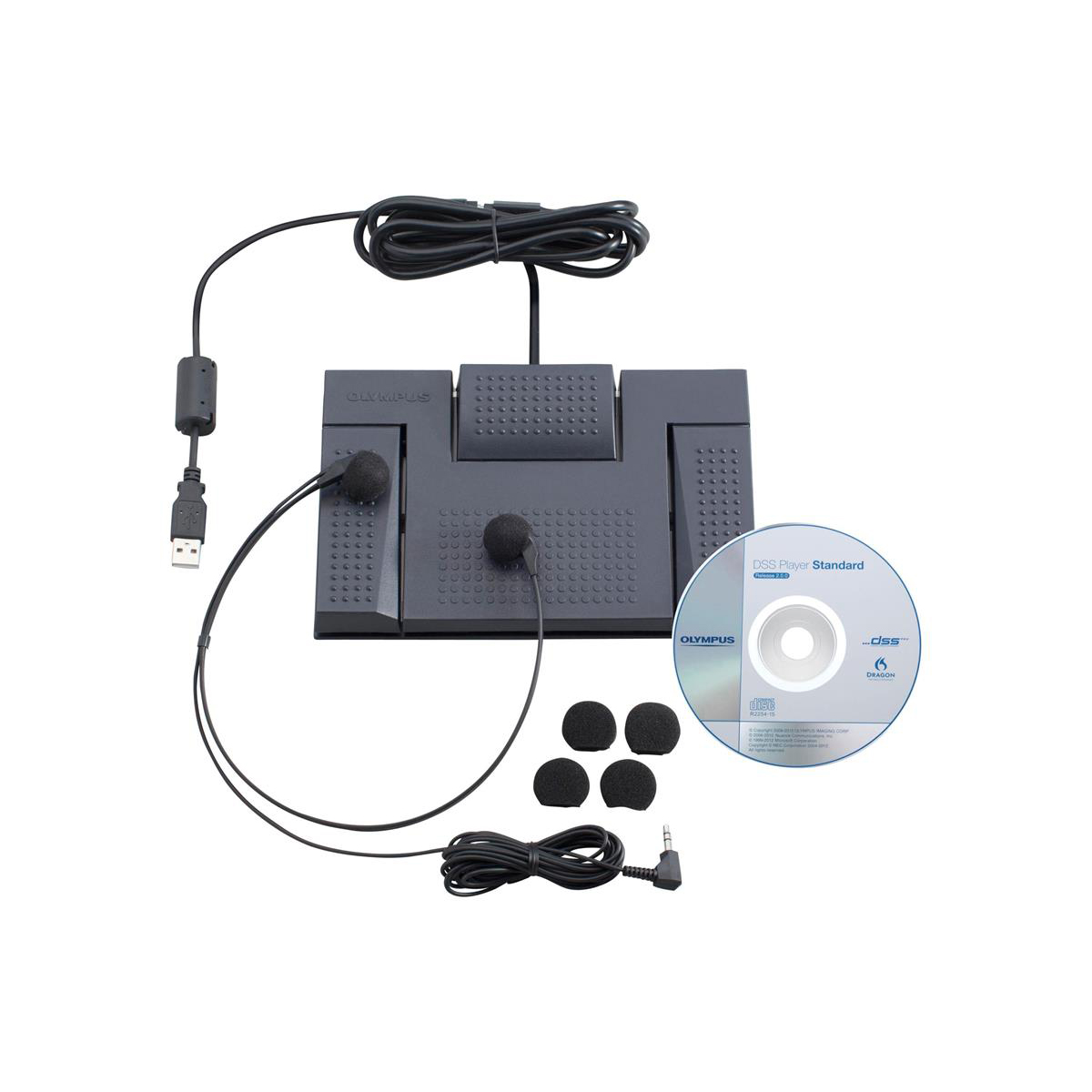 Olympus AS2400 Digital Transcription Kit RS-28 Footswitch E-102 Headset and DSS Software Ref N2275726