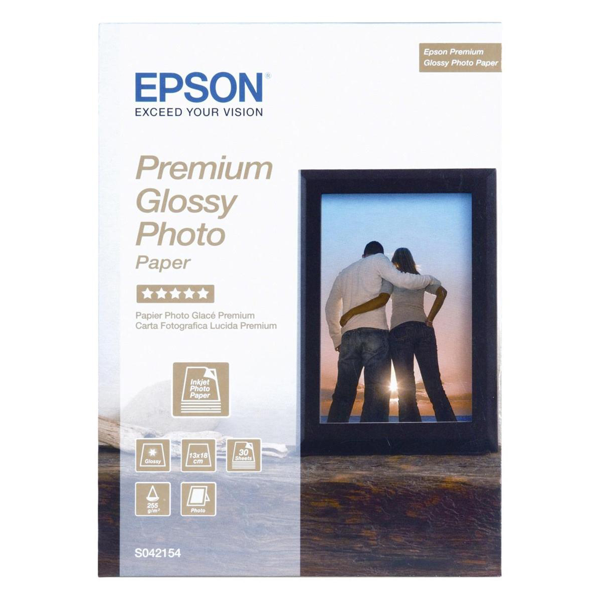 Epson Photo Paper Premium Glossy 255gsm 130x180mm Ref C13S042154 30 Sheets