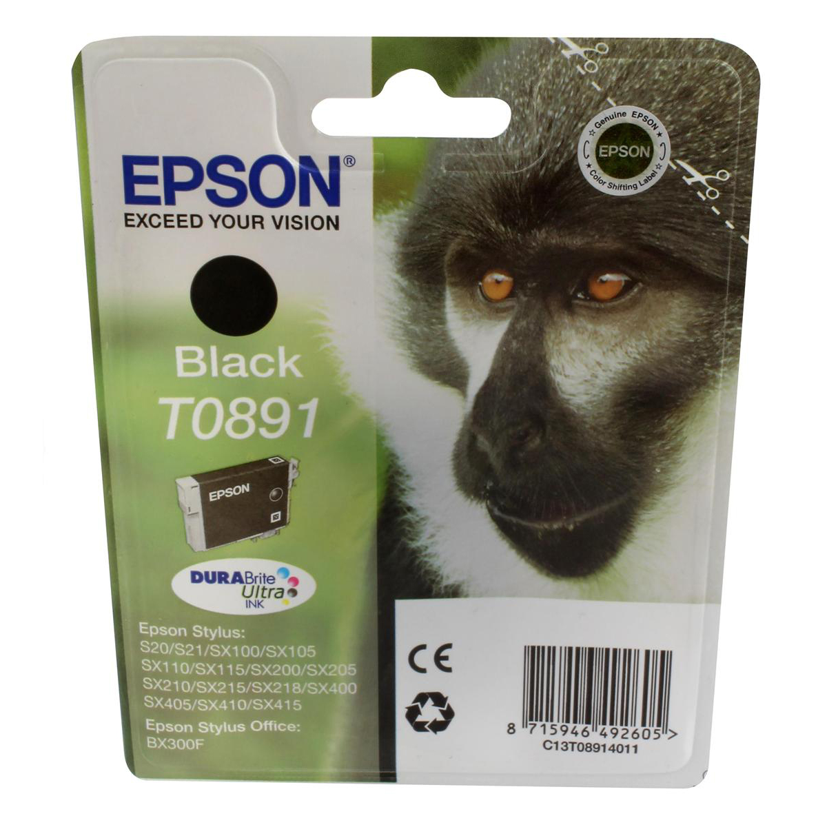 Epson T0891 Inkjet Cartridge Monkey Page Life 180pp 5.8ml Black Ref C13T08914011