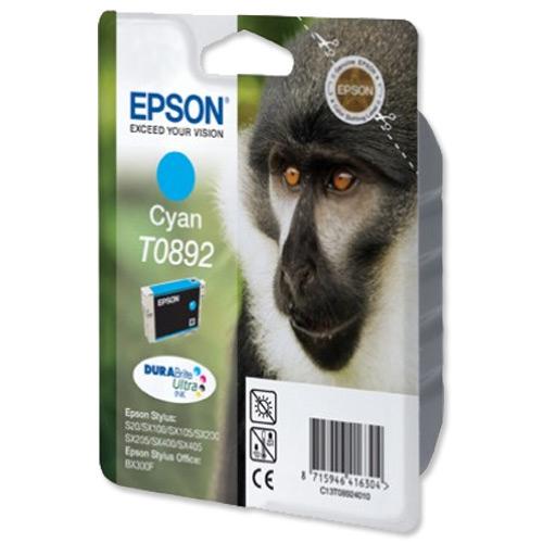 Epson T0892 Inkjet Cartridge Monkey Page Life 185pp 3.5ml Cyan Ref C13T08924011