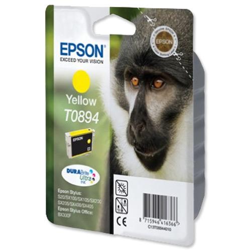 Epson T0894 Inkjet Cartridge Monkey Page Life 200pp 3.5ml Yellow Ref C13T08944010