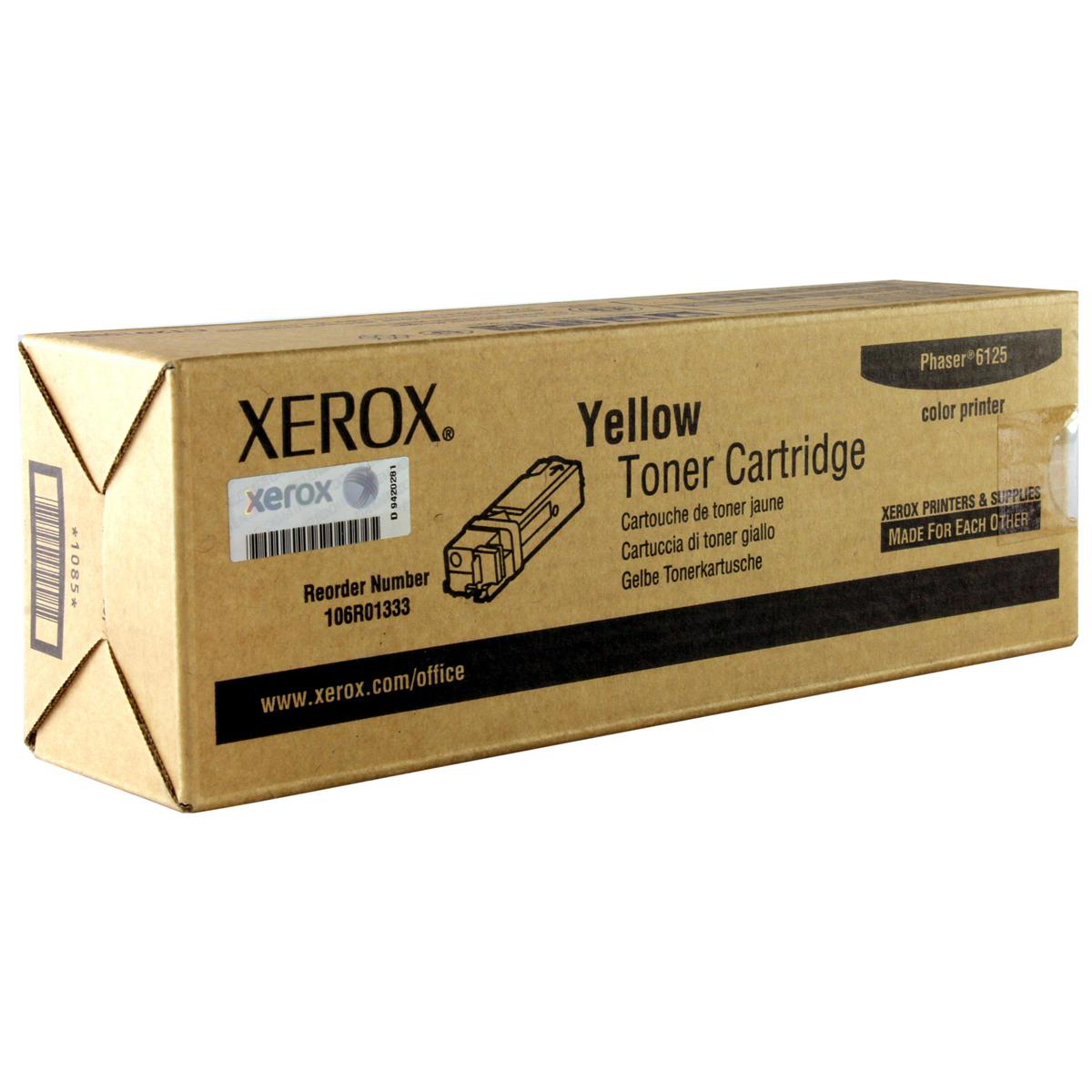 Xerox Phaser 6125 Laser Toner Cartridge Page Life 1000pp Yellow Ref 106R01333