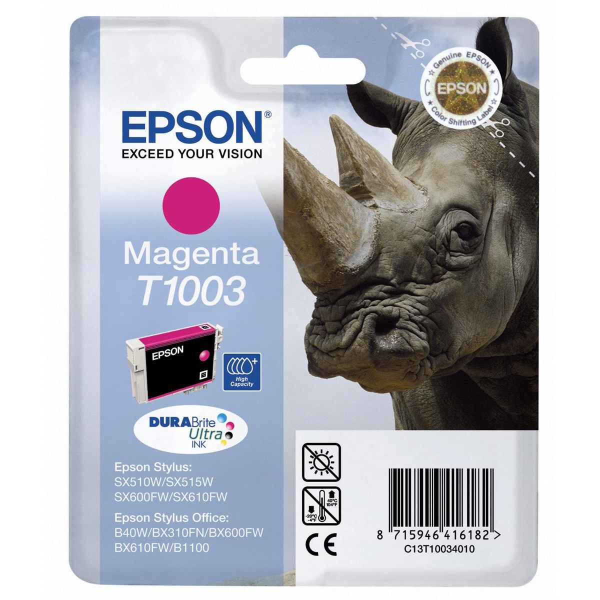 Epson T1003 Inkjet Cartridge DURABrite Ultra Rhino Magenta Ref C13T10034010