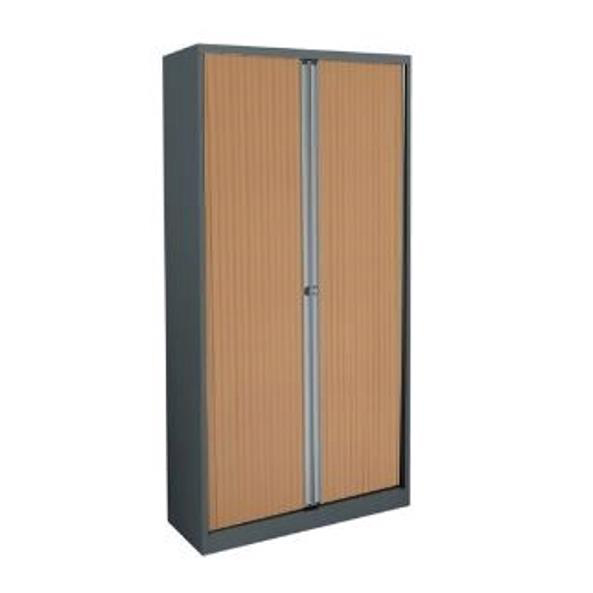 Up to 1200mm High Trexus by Bisley Side Opening Tambour Cupboard inc 4Sh 1000x470x1970-1985mm Slv/Bch Ref WTB1019/4S.BC