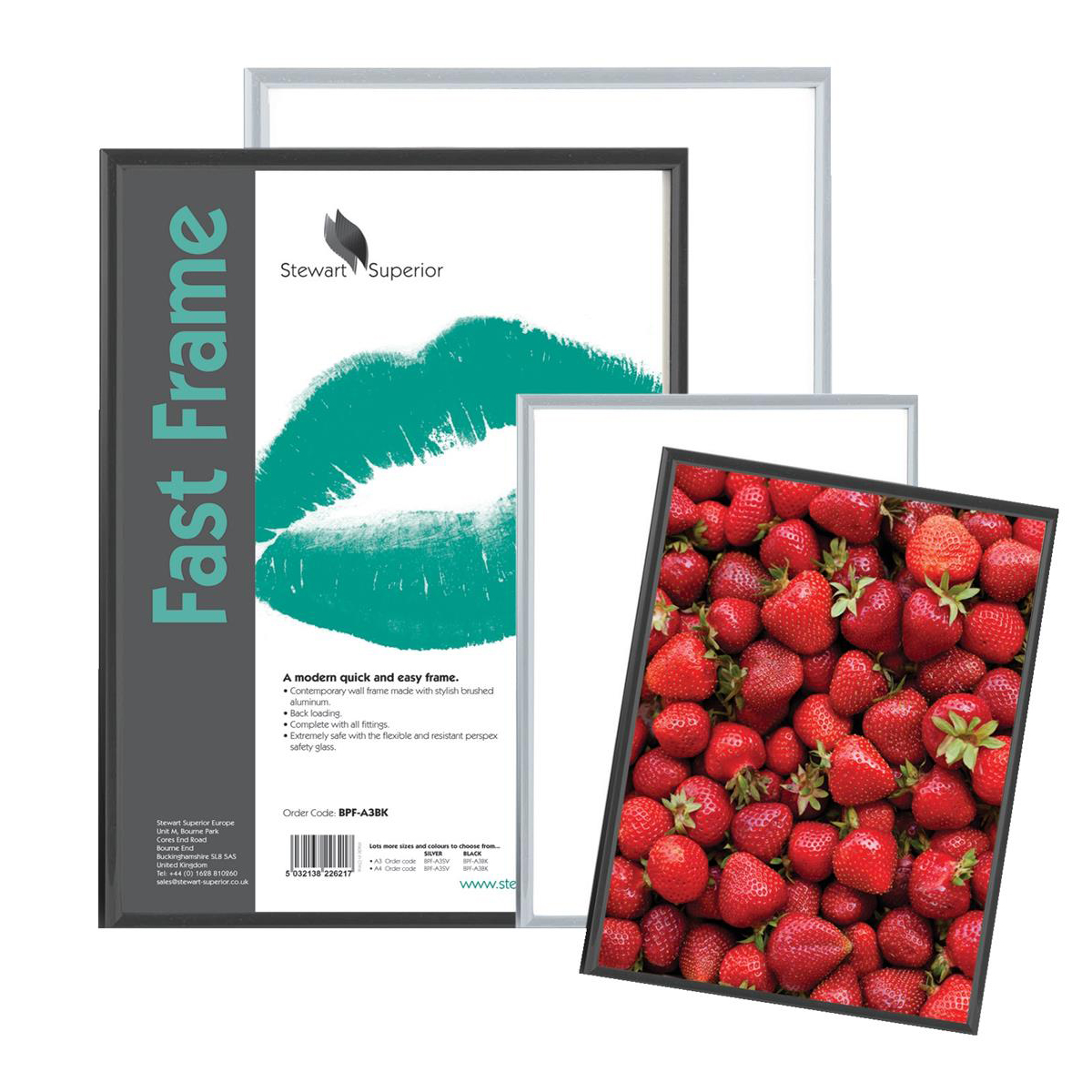 5 Star Facilities Snap Photo Frame with Non-glass Polystyrene Front Back-loading A4 220x17x307mm Silver
