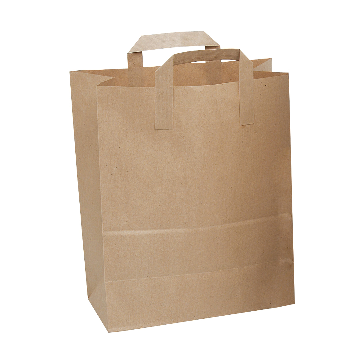 Image for Brown Paper Carrier Bags Flat Handle Brown [Pack 250] (0)