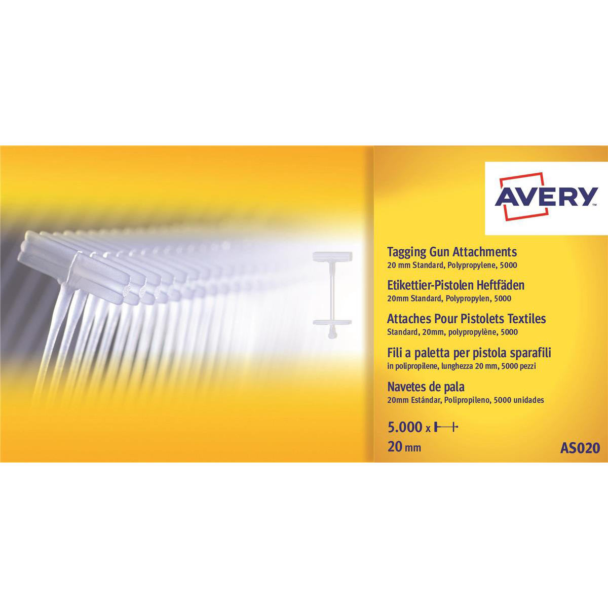 Accessories Avery Tagging Gun Attachments Polypropylene with Paddles 20mm Ref AS020 Pack 5000