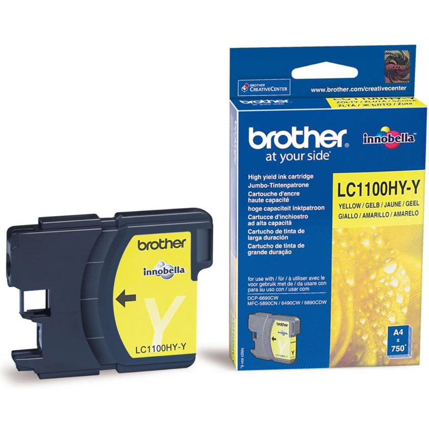 Brother Inkjet Cartridge High Yield Page Life 750pp Yellow Ref LC1100HYY