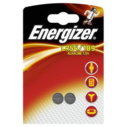 Button Cell Energizer Alkaline LR54 Button Cell Battery 1.5V Ref LR54 189 PIP2 Pack 2