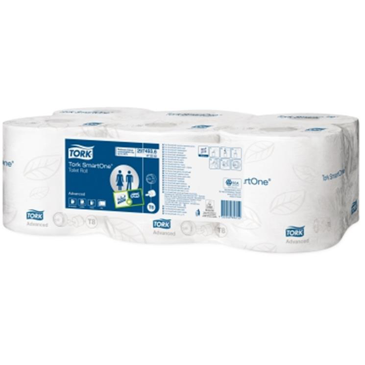 Toilet Tissue & Dispensers Tork SmartOne Toilet Roll 2-Ply 1150 Sheets per 207m Roll White Ref 472242 Pack 6