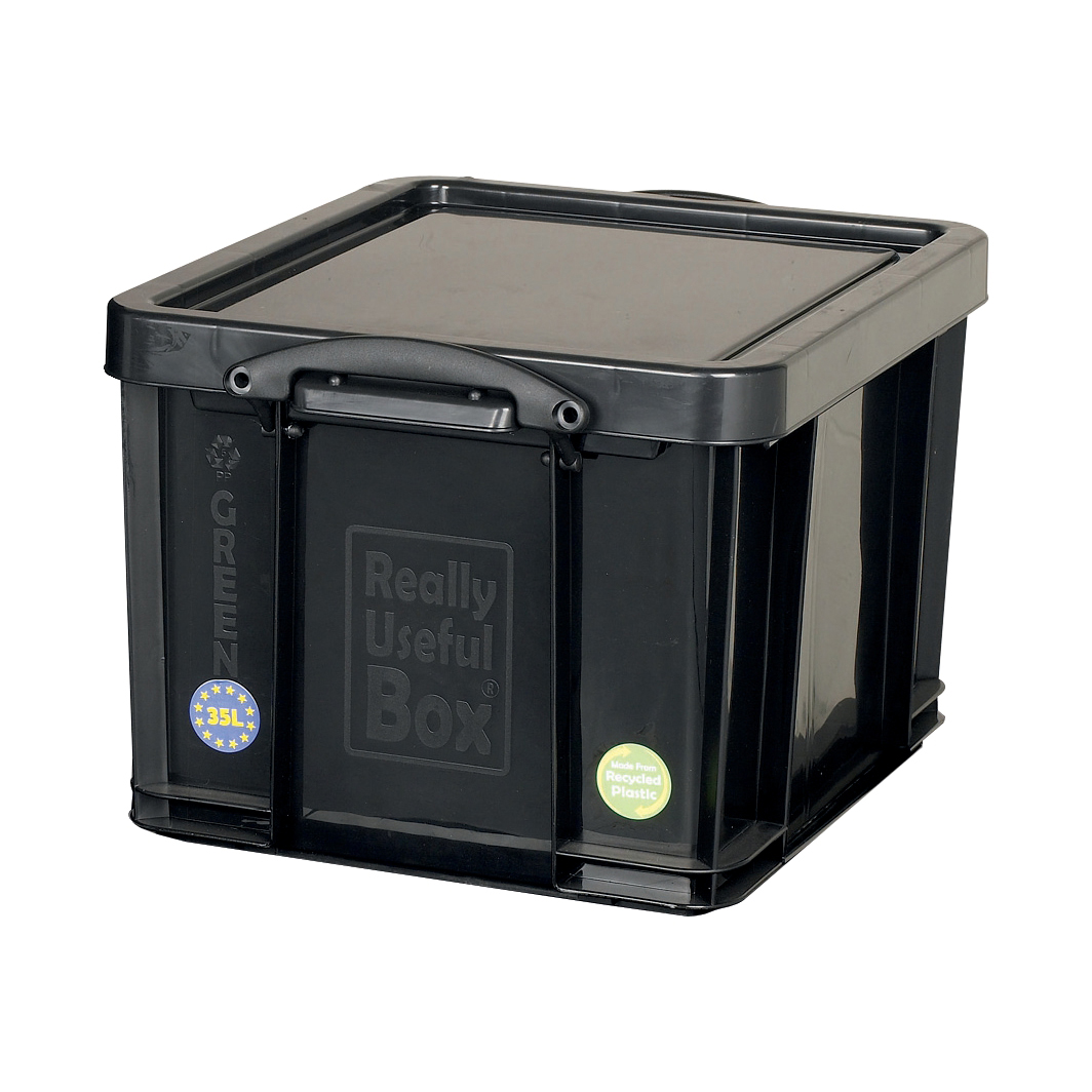Tool Boxes Really Useful Storage Box Plastic Recycled Robust Stackable 35 Litre W390xD480xH310mm Black Ref 35L
