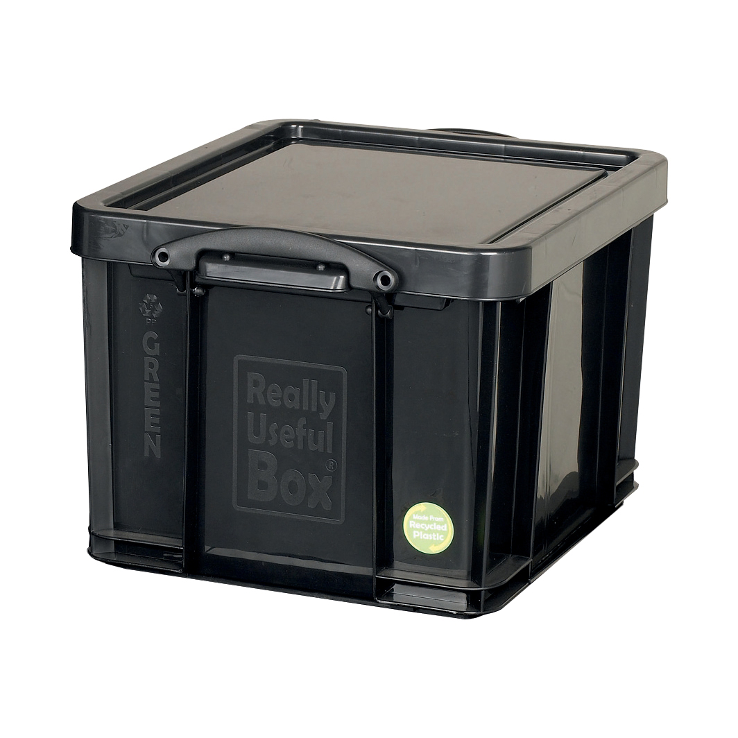 Tool Boxes Really Useful Storage Box Plastic Recycled Robust Stackable 42 Litre W440xD520xH310mm Black Ref 42L
