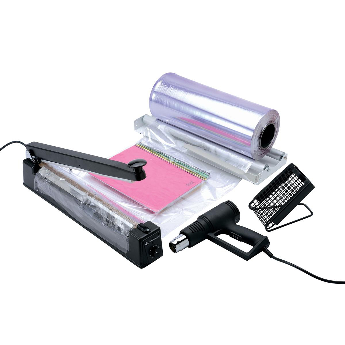 Shrink Wrap System with Hot Air Blower and Unrolling Device