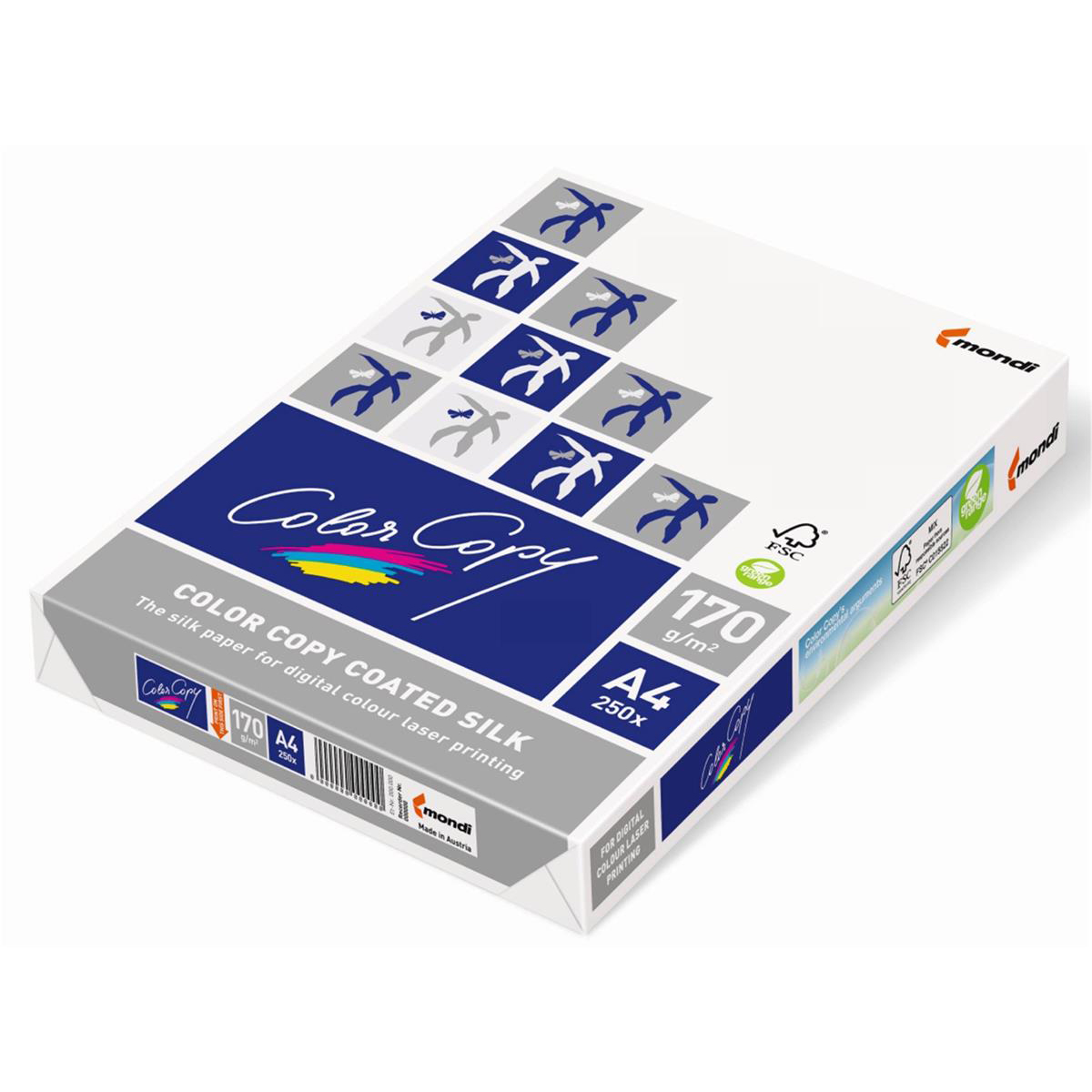 Card (160g+) Color Copy Card Premium Coated Silk A4 170gsm FSC White Ref CCS0170 250 Sheets