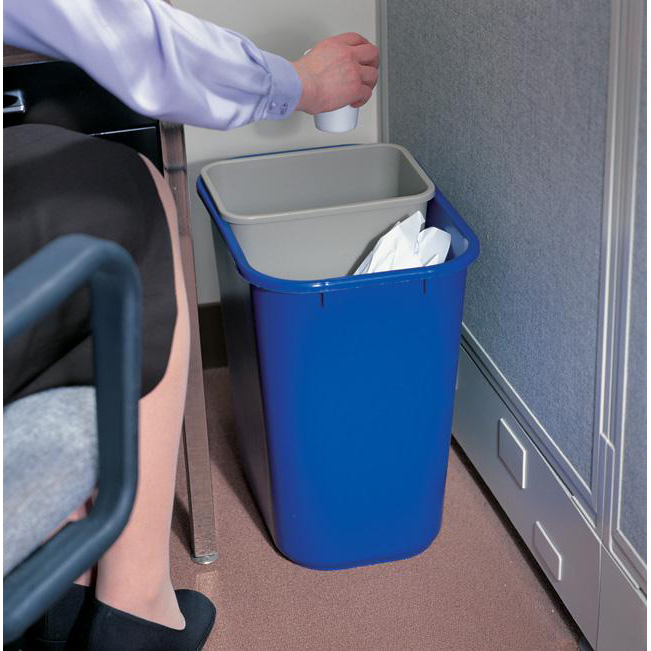 Rubbermaid Waste Basket Polyethylene Rectangular 26.6 Litres 365x260x380mm Blue Ref FG295673BLUE
