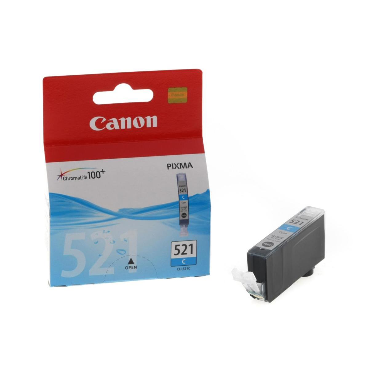 Canon CLI-521C Inkjet Cartridge Page Life 448pp 9ml Cyan Ref 2934B001AA