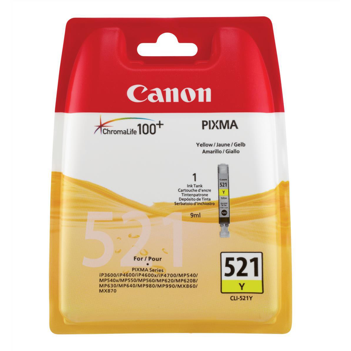 Canon CLI-521Y Inkjet Cartridge Page Life 477pp 9ml Yellow Ref 2936B001AA