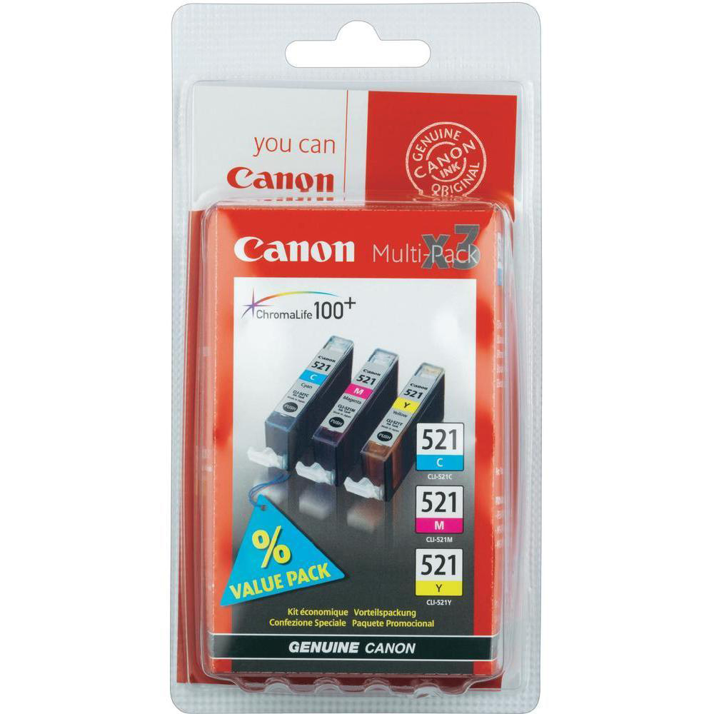 CanonCLI-521IJCartridges PageLife448ppCyan/ PageLife450ppMagenta/PageLife477ppYellow9mlRef2934B007 PK3