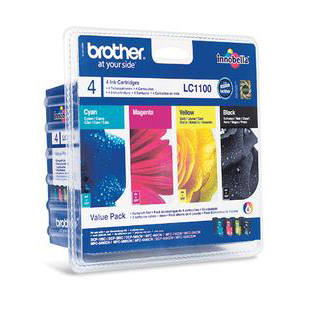 Brother InkjetCartValuePack PageLife 450pp BlackPageLife 325ppCyan/Magenta/Yellow RefLC1100VALBP Pack 4