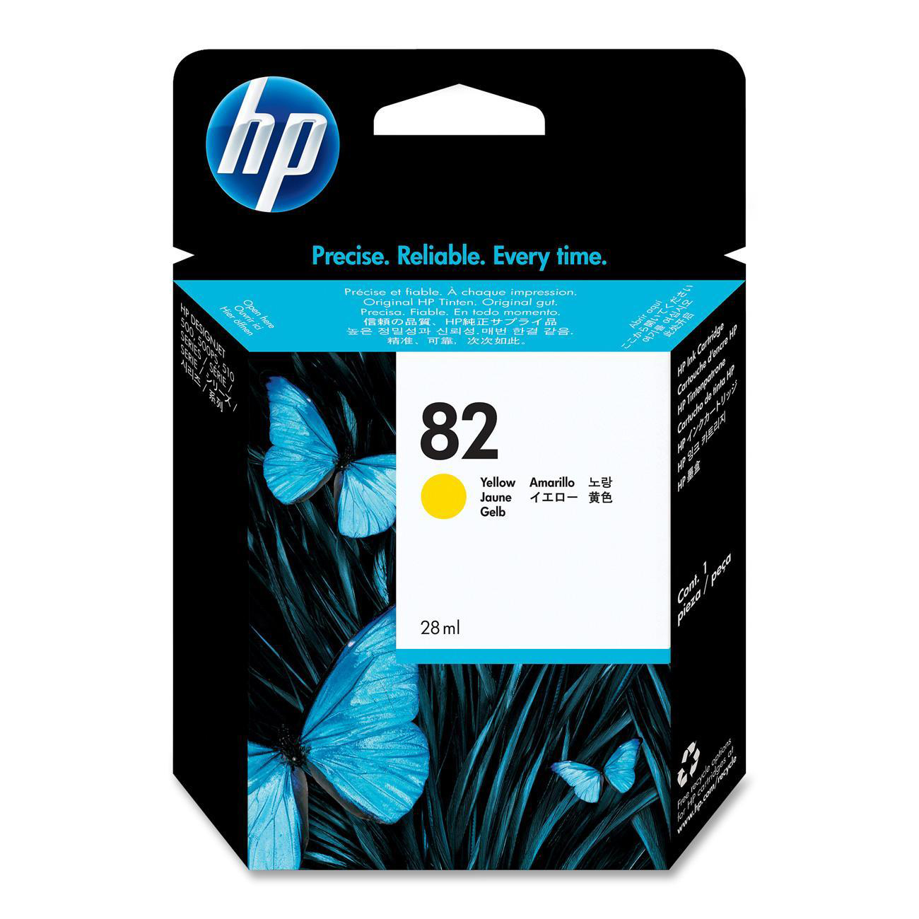Hewlett Packard [HP] No. 82 Inkjet Cartridge 28ml Yellow Ref CH568A