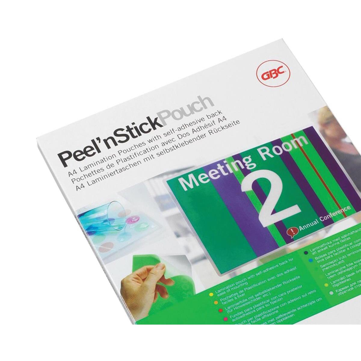 GBC Peel nStick Laminating Pouches Gloss 200 Micron A4 Ref 41666E Pack 100