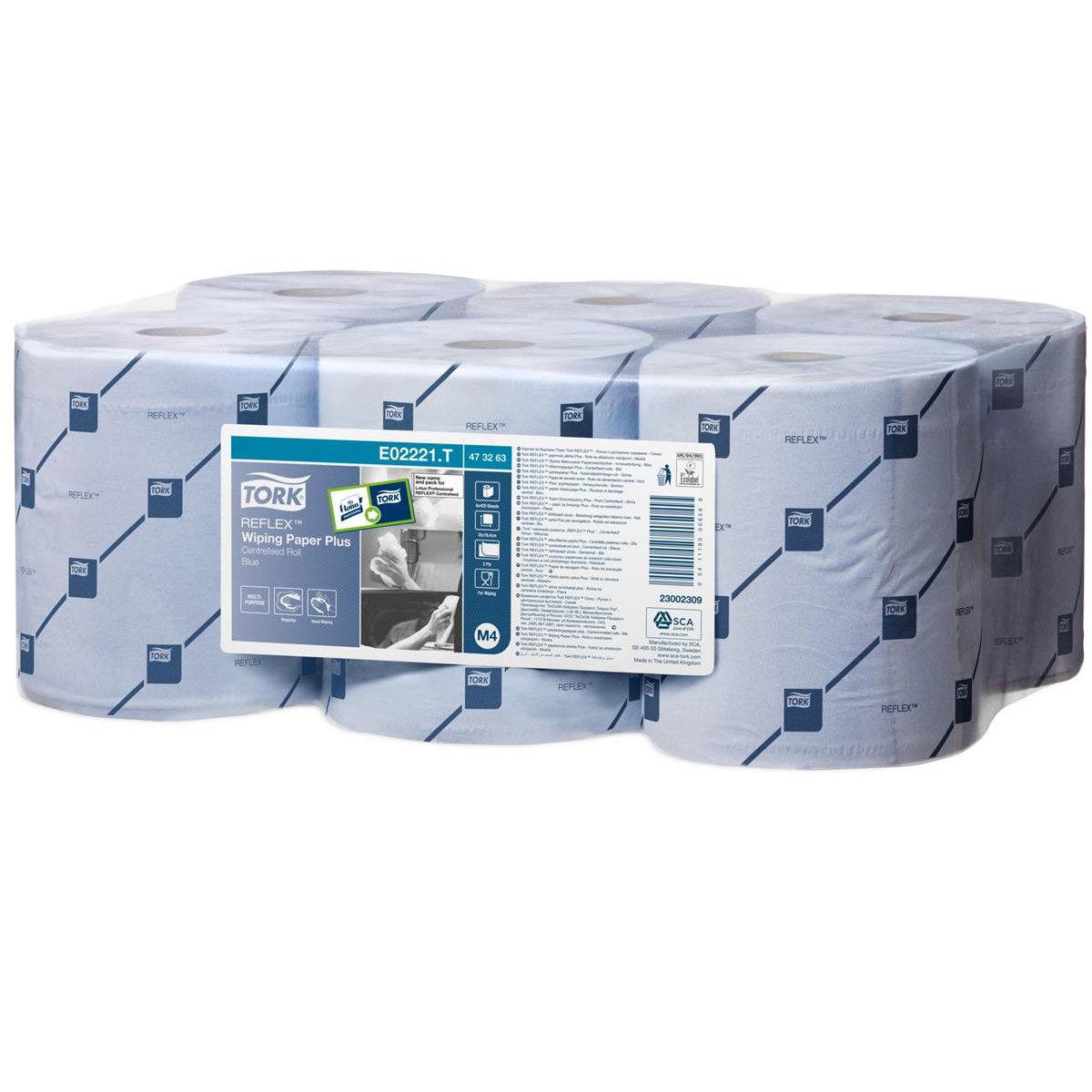 Tork Reflex Wiper Roll 2-Ply 429 Sheets of 194x150mm Blue Ref 473263 Pack 6