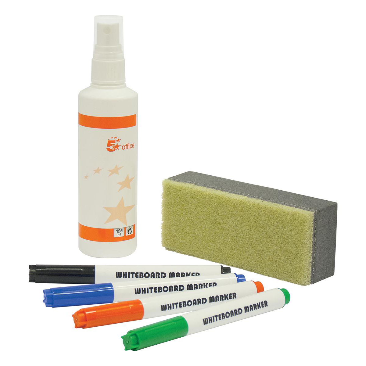 Pen Tray 5 Star Office Drywipe Starter Kit 4 Asst Whiteboard Markers/Eraser/125ml Whiteboard Cleaning Fluid Spray