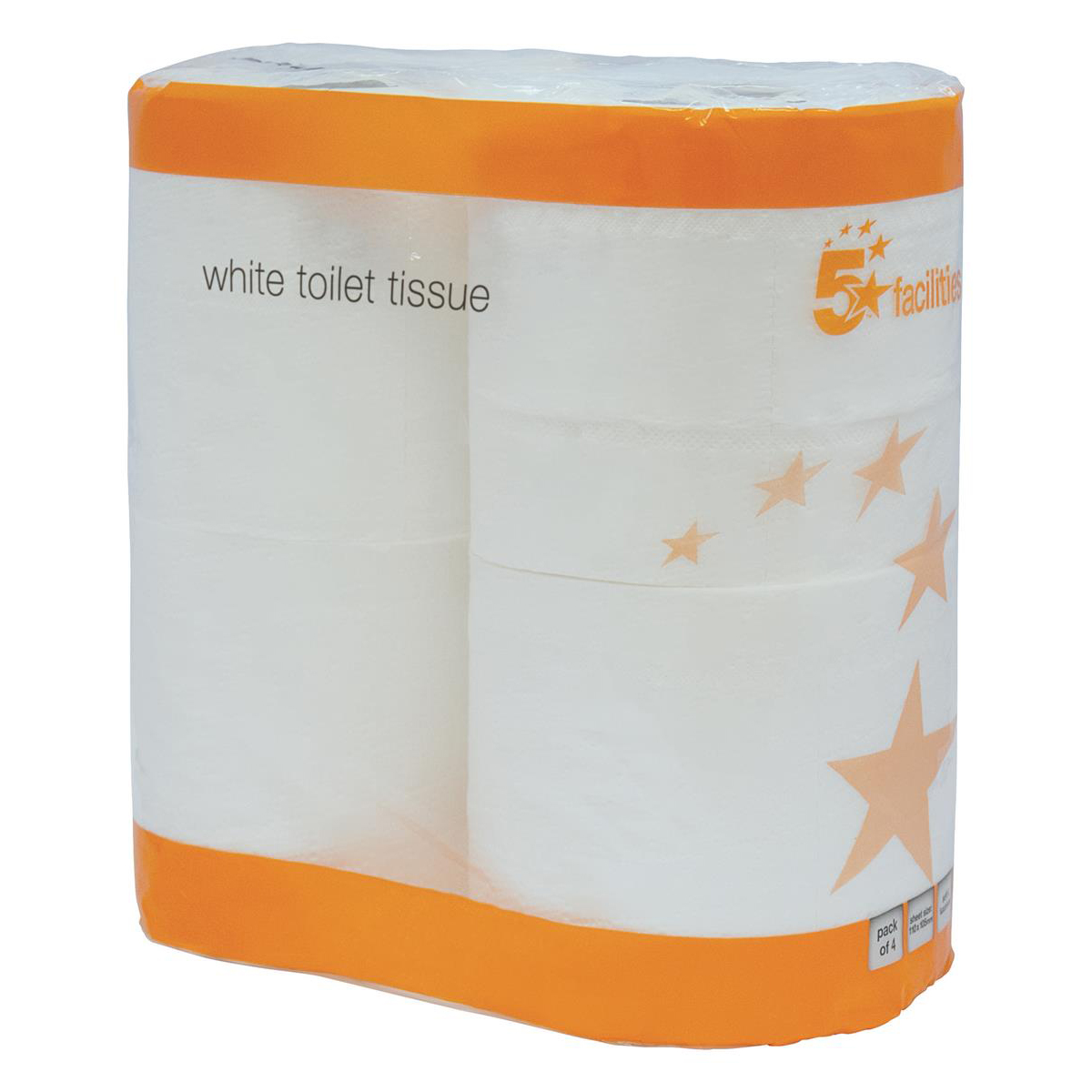 Toilet Tissue & Dispensers 5 Star Facilities Toilet Rolls 2-ply 102x92mm 4 Rolls of 200 Sheets Per Pack White Pack 9