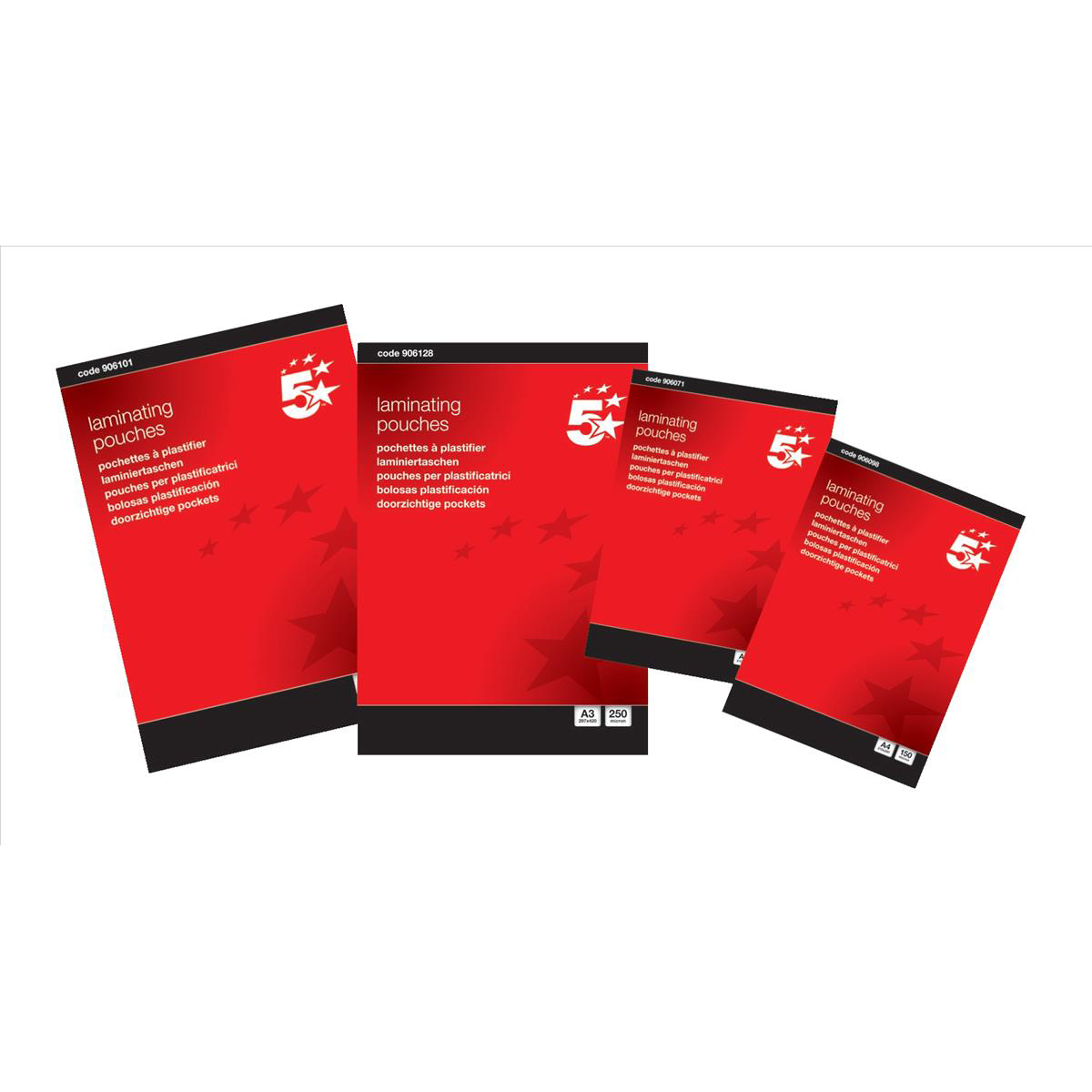 5 Star Office Laminating Pouches 250 Micron for A4 Gloss Pack 100