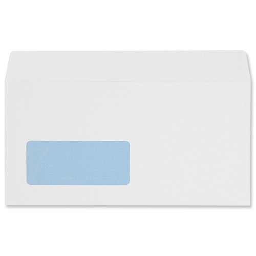 DL 5 Star Office Envelopes PEFC Wallet Peel & Seal Window 100gsm DL 220x110mm White Pack 500