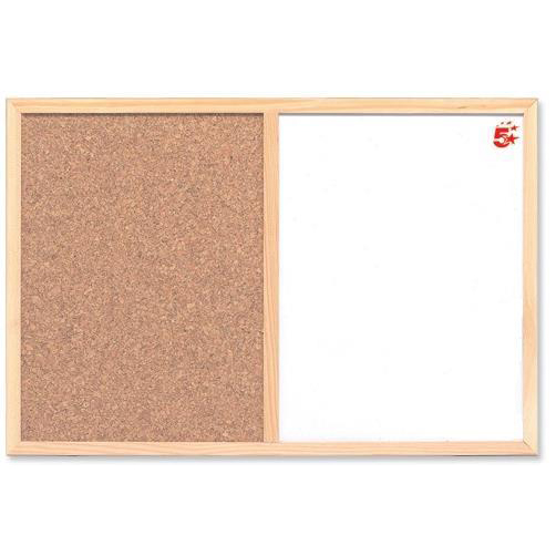 Cork 5 Star Office Combination Noticeboard Cork and Drywipe W900xH600mm