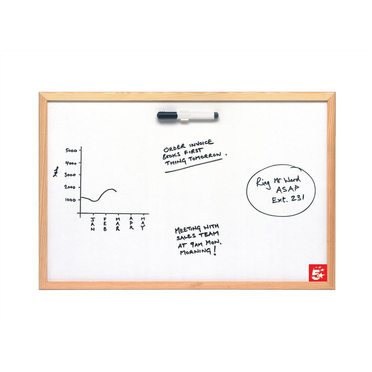 Non-Magnetic 5 Star Value Drywipe Board Lightweight W900xH600mm