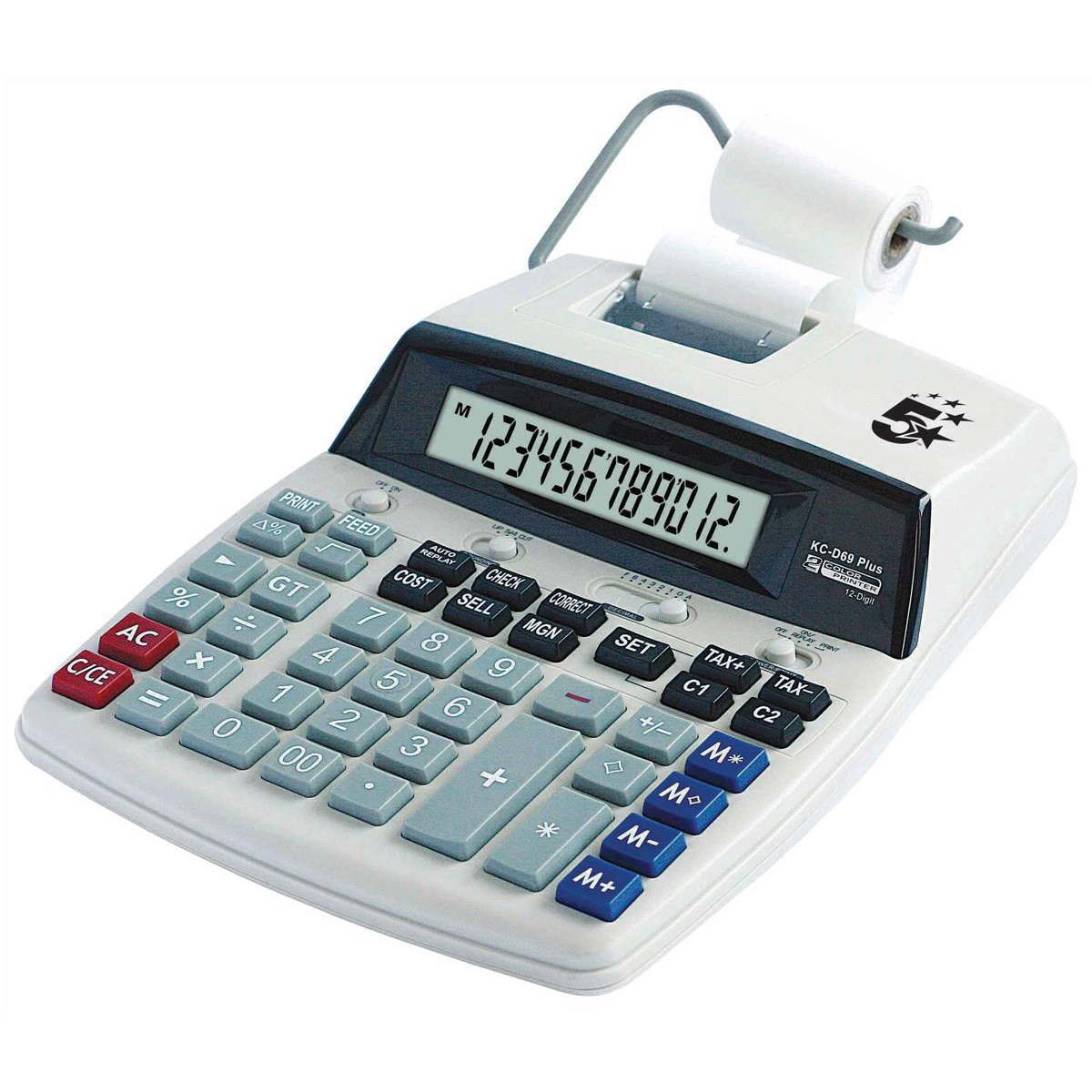 Printing Calculator 5 Star Office Desktop Printing Calculator 12 Digit Display 2 Colour Print 2.7 Lines/Sec 198x65x260mm Grey