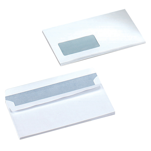 5 Star Office Envelopes PEFC Wallet Self Seal Window 90gsm DL 220x110mm White [Pack 500]