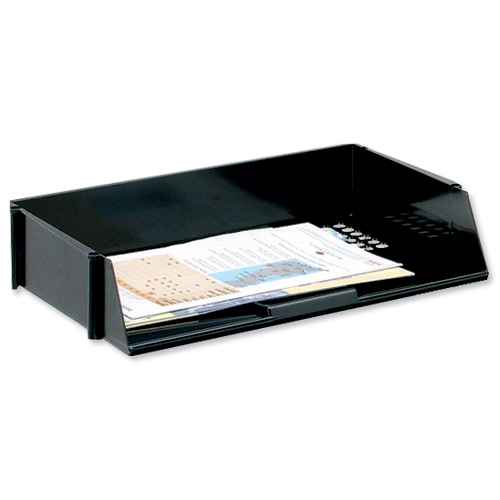 Letter Trays 5 Star Office Letter Tray Wide Entry High-impact Polystyrene Stackable Black