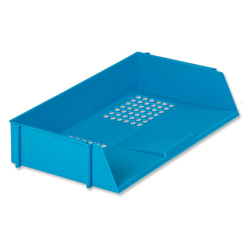 Letter Trays 5 Star Office Letter Tray Wide Entry High-impact Polystyrene Stackable Blue