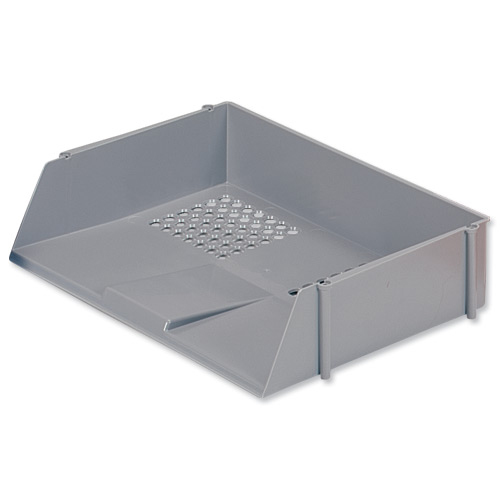Letter Trays 5 Star Office Letter Tray Wide Entry High-impact Polystyrene Stackable Grey