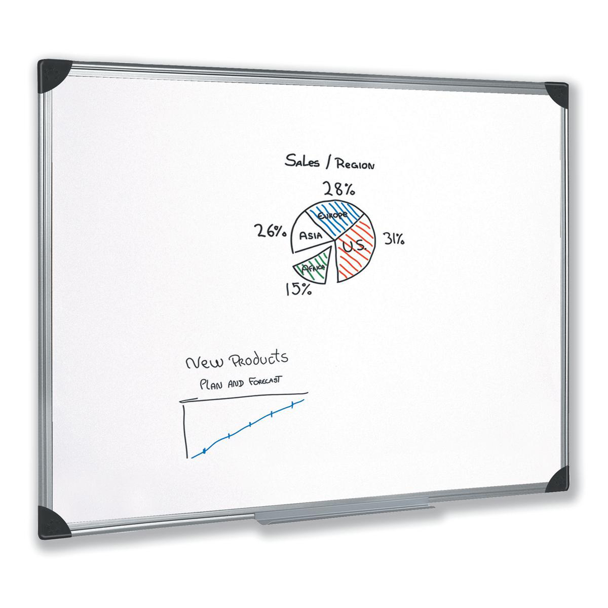 Magnetic 5 Star Office Whiteboard Drywipe Magnetic with Pen Tray and Aluminium Trim W1200xH900mm