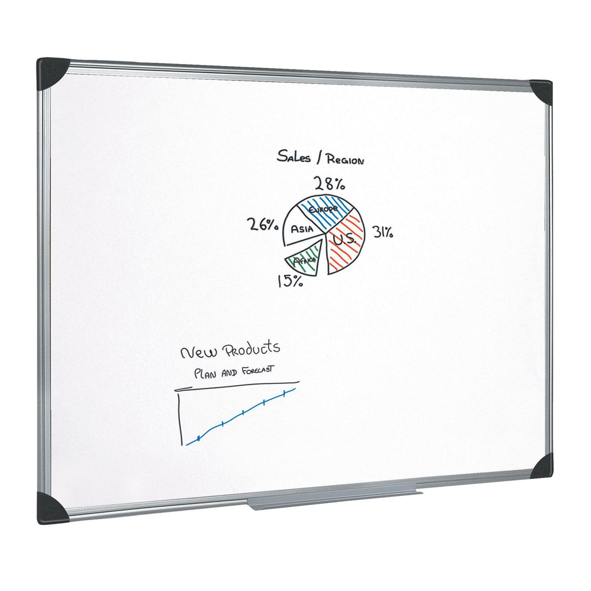 5 Star Office Whiteboard Drywipe Magnetic with Pen Tray and Aluminium Trim W1800xH1200mm
