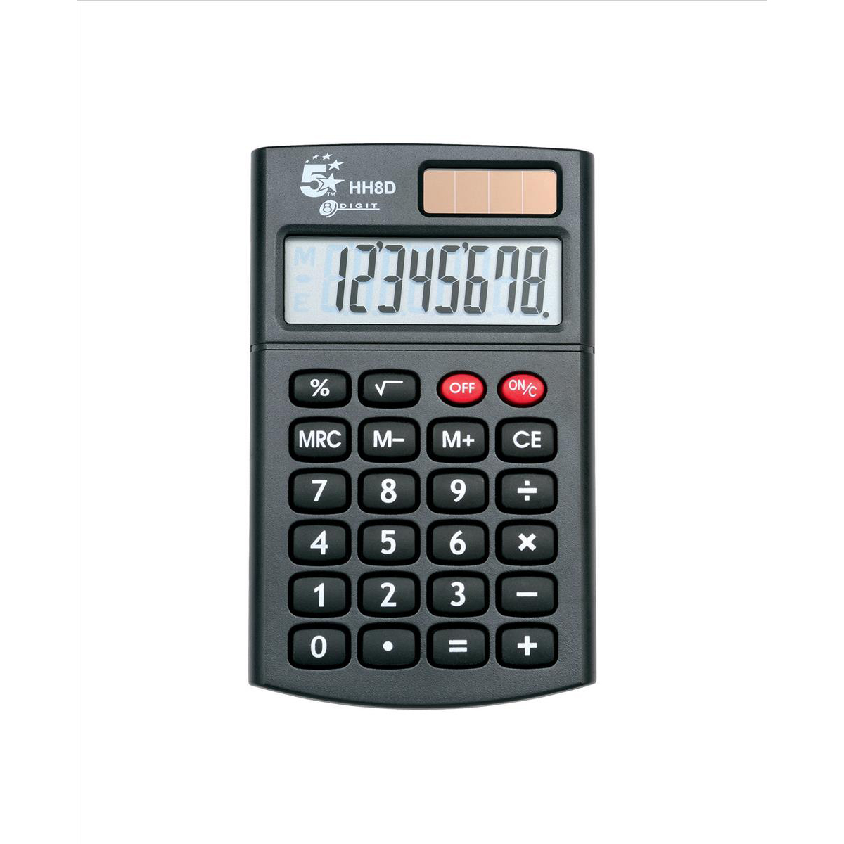 Handheld Calculator 5 Star Office Handheld Calculator 8 Digit 3 Key Memory Solar and Battery Power 56x8x100mm Black