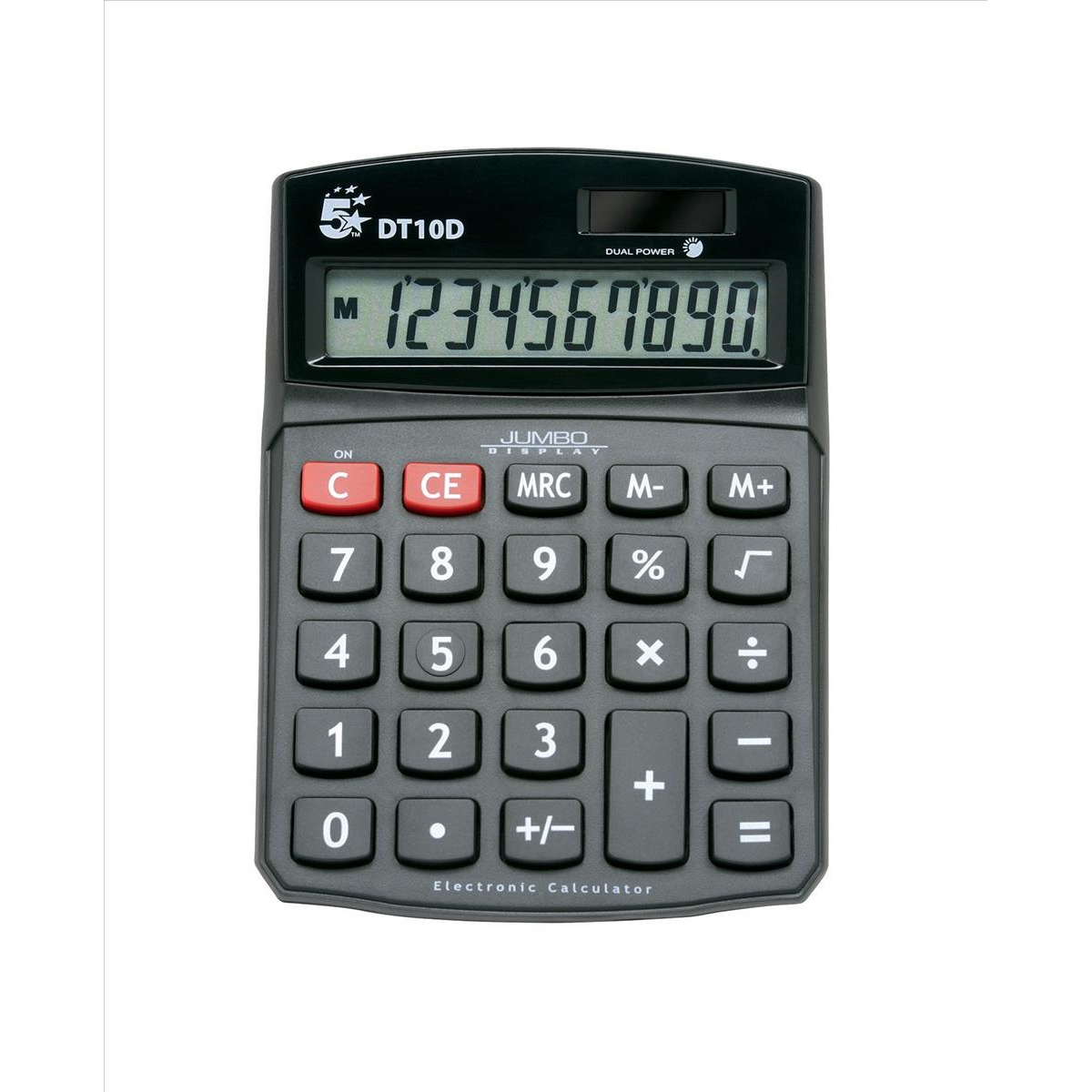 Desktop Calculator 5 Star Office Desktop Calculator 10 Digit Display 3 Key Memory Battery/Solar Power 94x32x124mm Black
