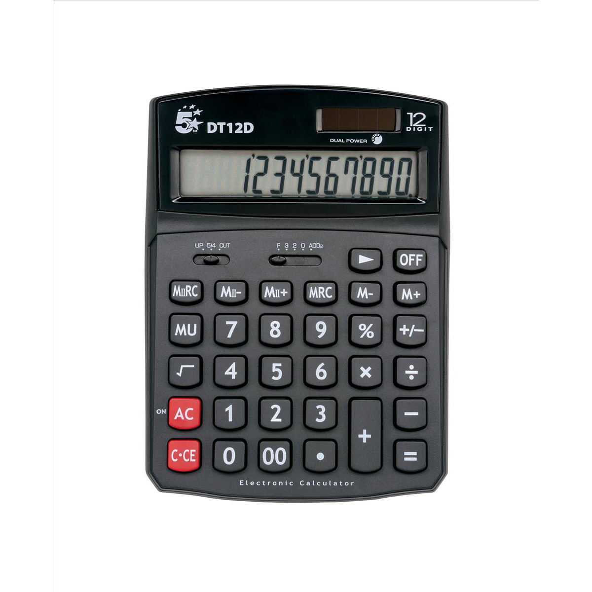 5 Star Office Desktop Calculator 12 Digit 2x3 Key Memory Battery/Solar Power 91x11x125mm Black