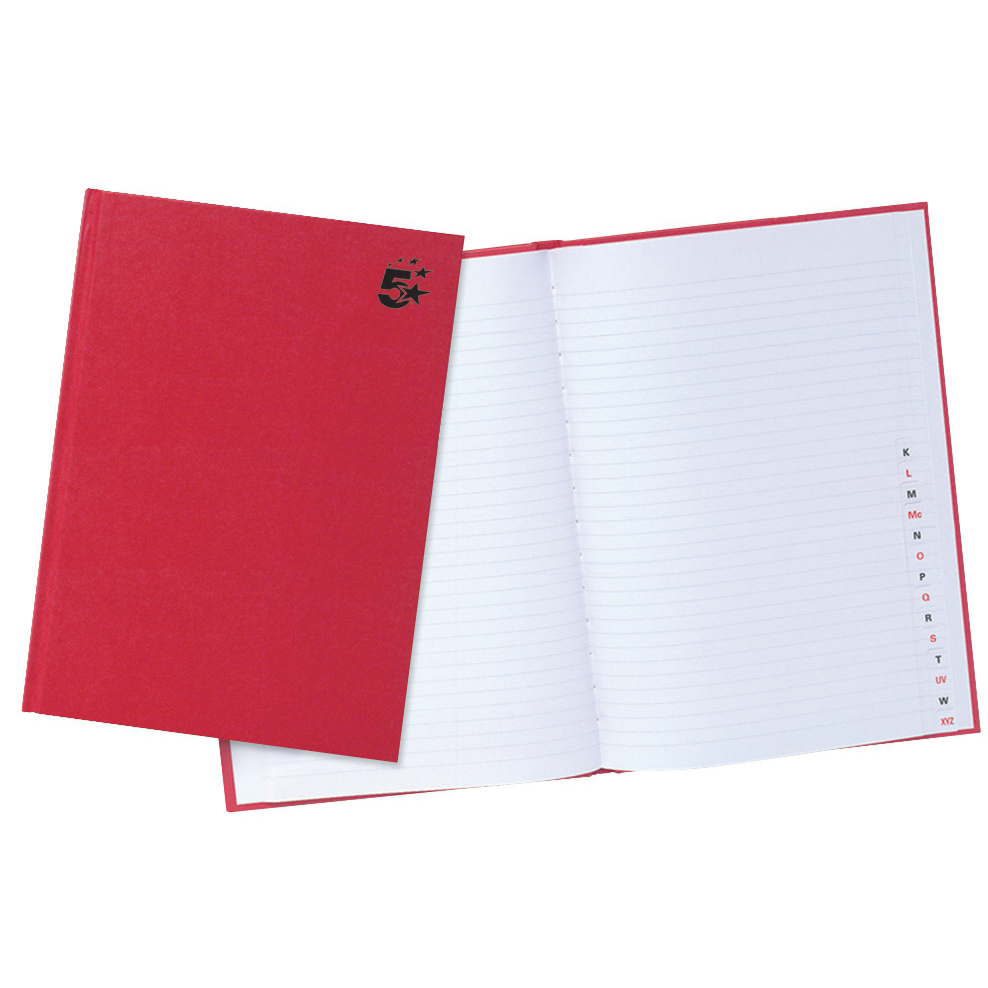 Index 5 Star Office Manuscript Notebook Casebound 70gsm Ruled and Indexed 192pp A4 Red Pack 5