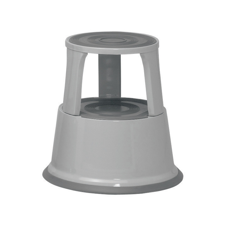 Image for 5 Star Facilities Step Stool Mobile Spring-loaded Castors Max 150kg Top D290xH430xBase D435mm 5kg Grey